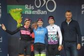 PRESS RELEASE....NO REPRODUCTION FEE..Ras na mBan 5/9/2018 Stage 1 Kilkenny - Gowran(L-R)  Third placed Amelie Lutro, stage Winner Nina Kessler and Second placed Claire Faber with President of Cycling Ireland Ciaran McKennaPic : Lorraine O'Sullivan
